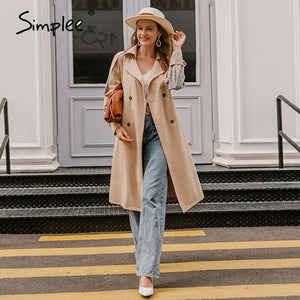 Simplee Causal light tan autumn women trench coat Split joint elegant long sleeve coat Plaid long coat with belt windbreaker - Aesthetic Outfits