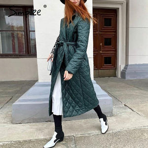 Simplee Long Straight Winter - Rhombus Pattern Stylish Outerwear - Aesthetic Outfits