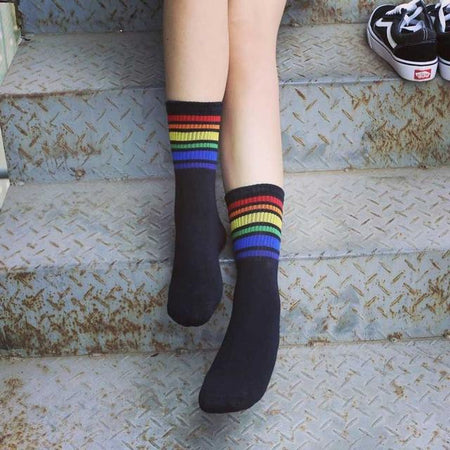 Skateboard Short Rainbow Socks - Aesthetic Outfits