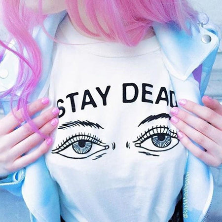 Stay dead letter women t shirt - Aesthetic Outfits