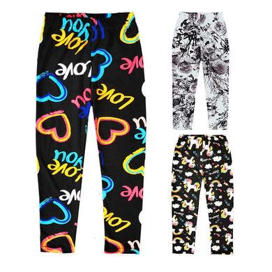 Sweet Kids Printing Leggings Girls Spring Summer Trousers For Children Flower Skinny Pencil Pants Fashion Girls Leggings - Aesthetic Outfits