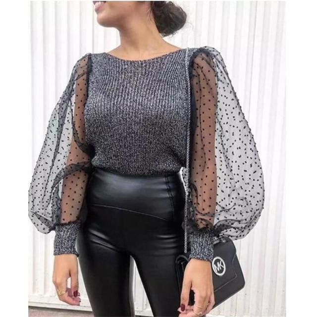 Turtleneck Knitted Polka Dot Puff Long Sleeve Blouse Women Mesh Sheer See-through Shirt Elegant Ladies Slim Tops Blusa Femme - Aesthetic Outfits