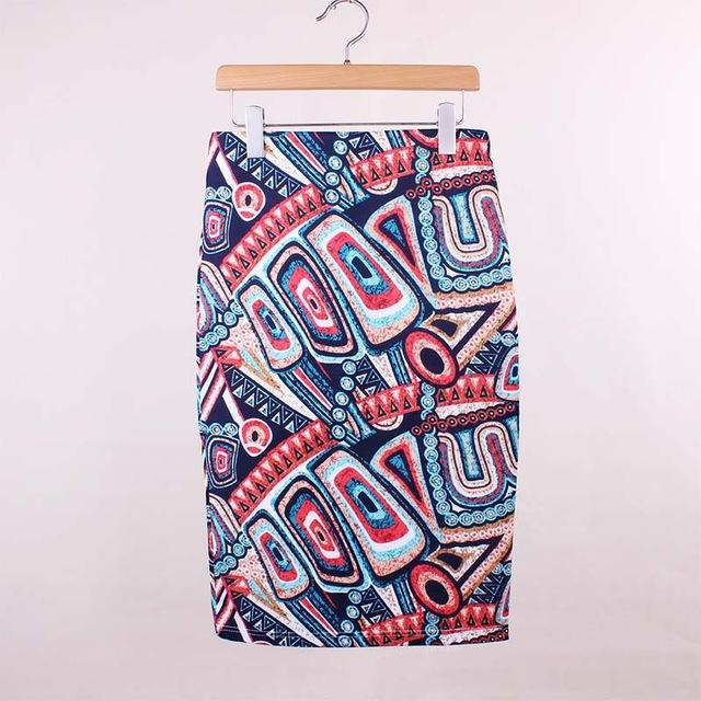 Twisted Geometric Pattern High Waist Pencil Skirt - Aesthetic Outfits