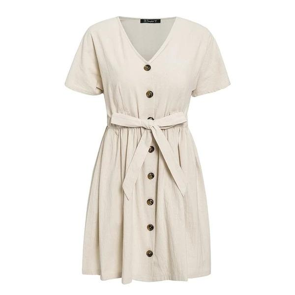 Vintage V-Neck Dress with Buttons - Aesthetic Outfits