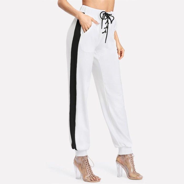 White Lace Up Pants - Aesthetic Outfits
