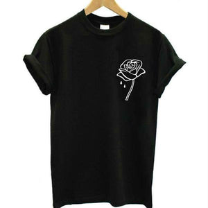White Rose Flower Pocket Print T-shirt - Aesthetic Outfits