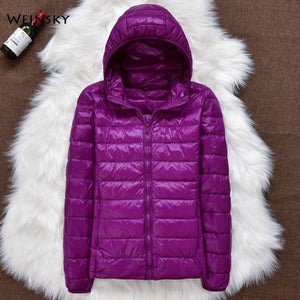 Winter Women Ultralight Thin Down Jacket White Duck Down Hooded Jackets Long Sleeve Warm Coat Parka Female Portable Outwear - Aesthetic Outfits