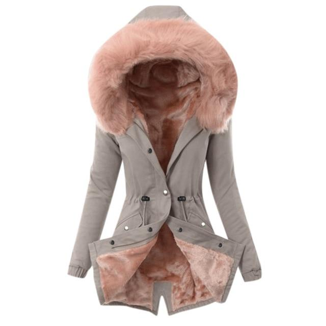 Women Ladies Fur Lining Coat Winter Warm Thick Long Jacket Hooded Overcoat - Aesthetic Outfits