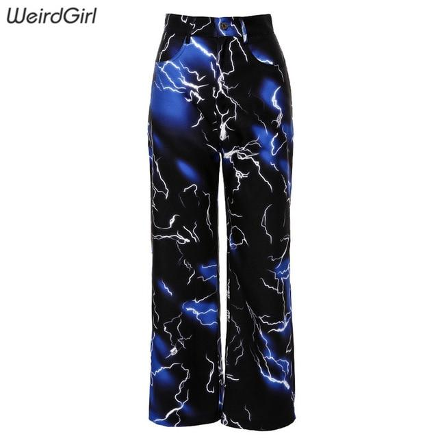 Women Lightning Print Pants - Aesthetic Outfits