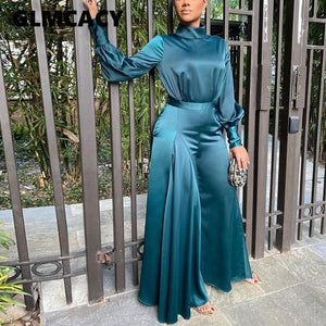 Women Satin Long Sleeve Tunic Jumpsuit Classy Wide Leg Overalls Elegant Evening Party Jumpsuit OL Workwear - Aesthetic Outfits