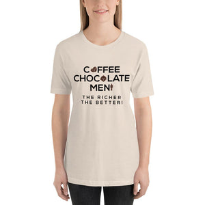 "Women T-Shirt ""Richer Coffee, Chocolate & Men"" - Aesthetic Outfits"