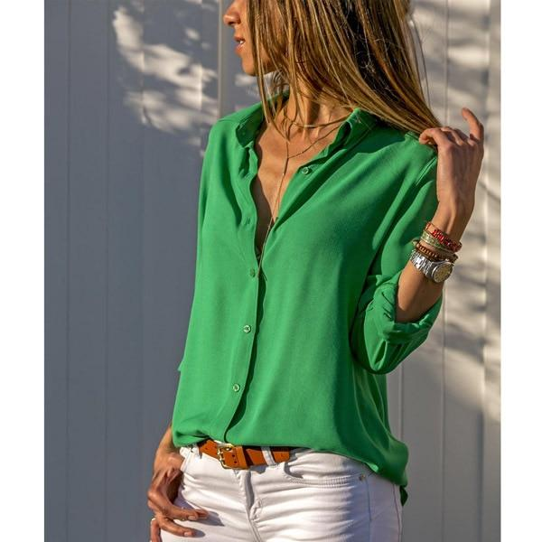 Women White Blouses Basic Selling Button Solid 2020 summer Long Sleeve Shirt Female Chiffon Women's Slim Clothing Plus Size Tops - Aesthetic Outfits