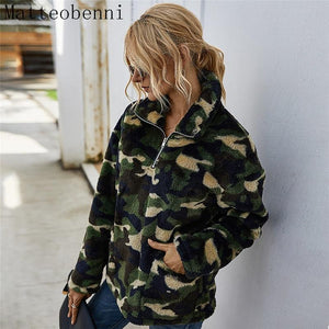 Women's Camouflage Pullover Hoodie - Trendy Sweatshirts - Aesthetic Outfits