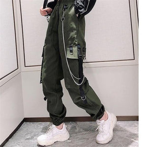 Women's Cargo Pants Buckle Ribbon Pocket Jogger Streetwear Pant - Aesthetic Outfits