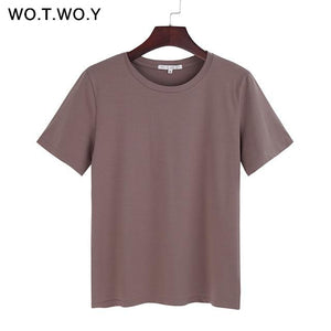Summer Cotton T Shirt Women Loose Style Solid Tee Shirt - Aesthetic Outfits