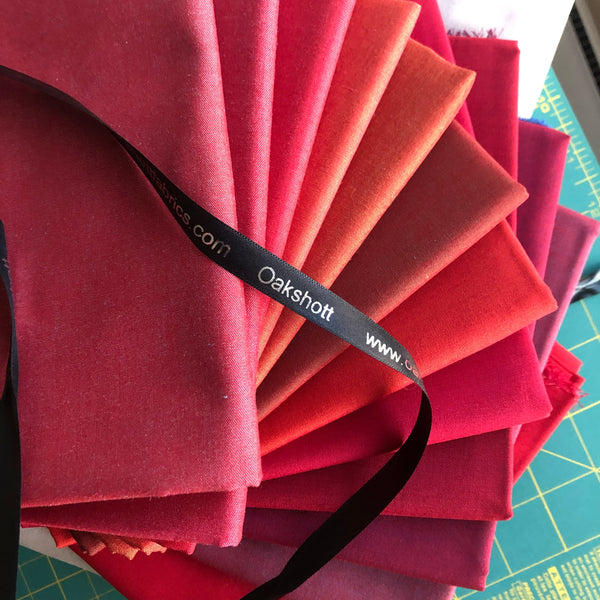 Oakshott Fabrics Ruby Red bundle of shot cottons
