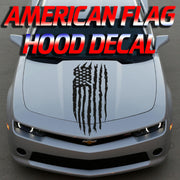 Distressed American Flag Hood Decal - Universal Fit