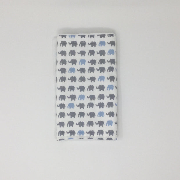 Elephant Blue and Gray Burp Cloth