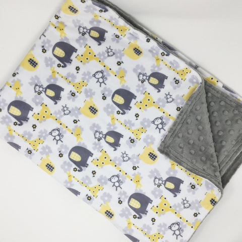 Yellow Safari Minky Blanket