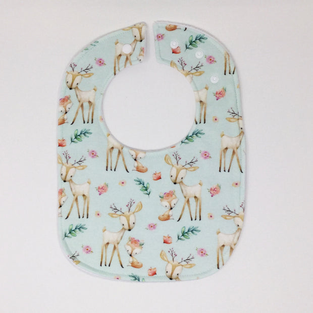 Baby Deer and Fox Traditional Bib