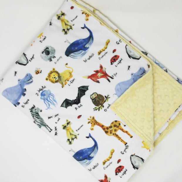 Animal Alphabet Minky Blanket