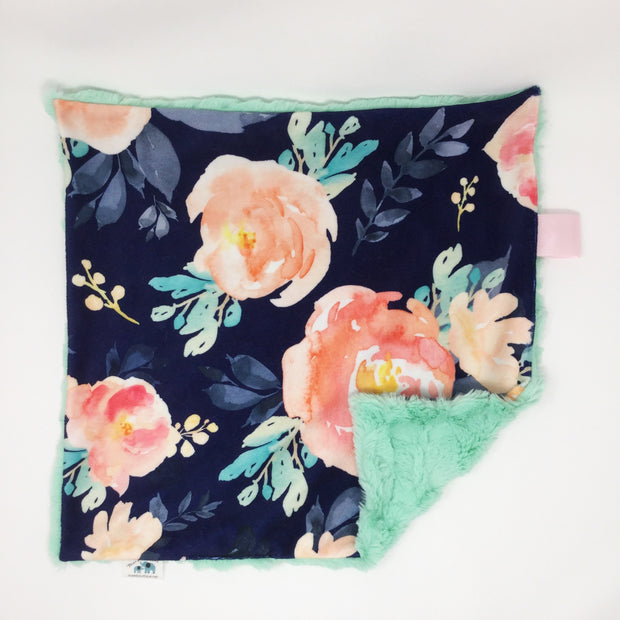 Navy Floral Lovey Blanket
