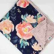Navy Floral Luxe Blanket