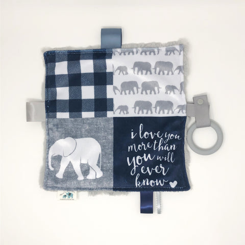 Navy Blue Elephant Teething Blanket