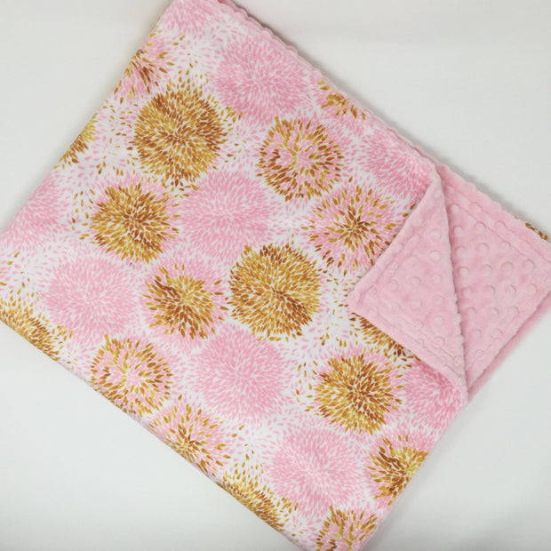 Pink and Gold Pom Pom Minky Blanket Sale Item