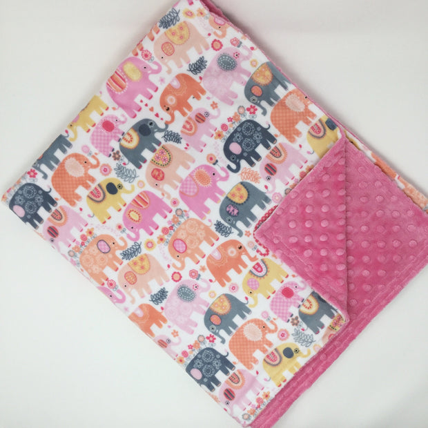 Happy Elephants Minky Blanket
