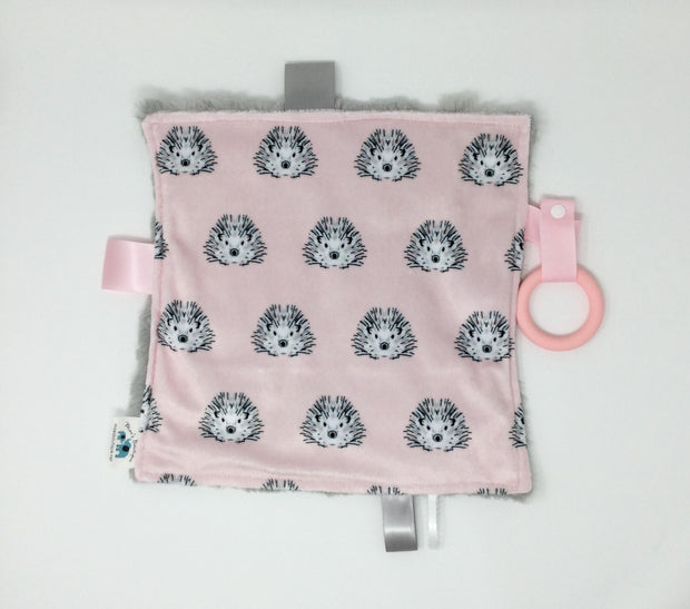 Hedgehog Pink  Luxe Teething Blanket