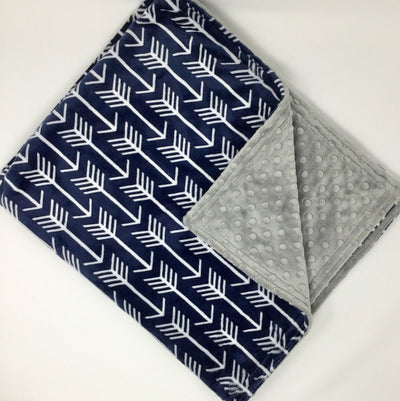 Navy Arrow Minky Blanket