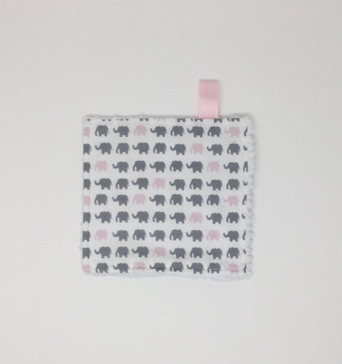Elephant Pink and Grey Washcloth
