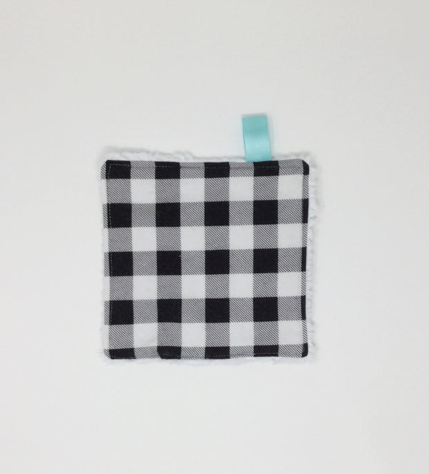 Black and White Buffalo Plaid Washcloth