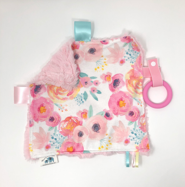 Pink Floral Luxe Teething Blanket