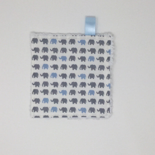 Elephant Blue and Gray Washcloth