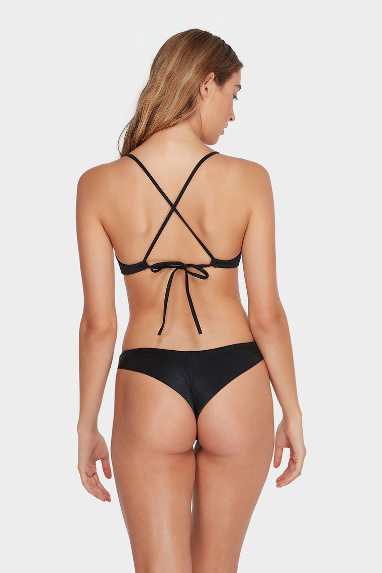 Solid Shimmer Cross Back - Black