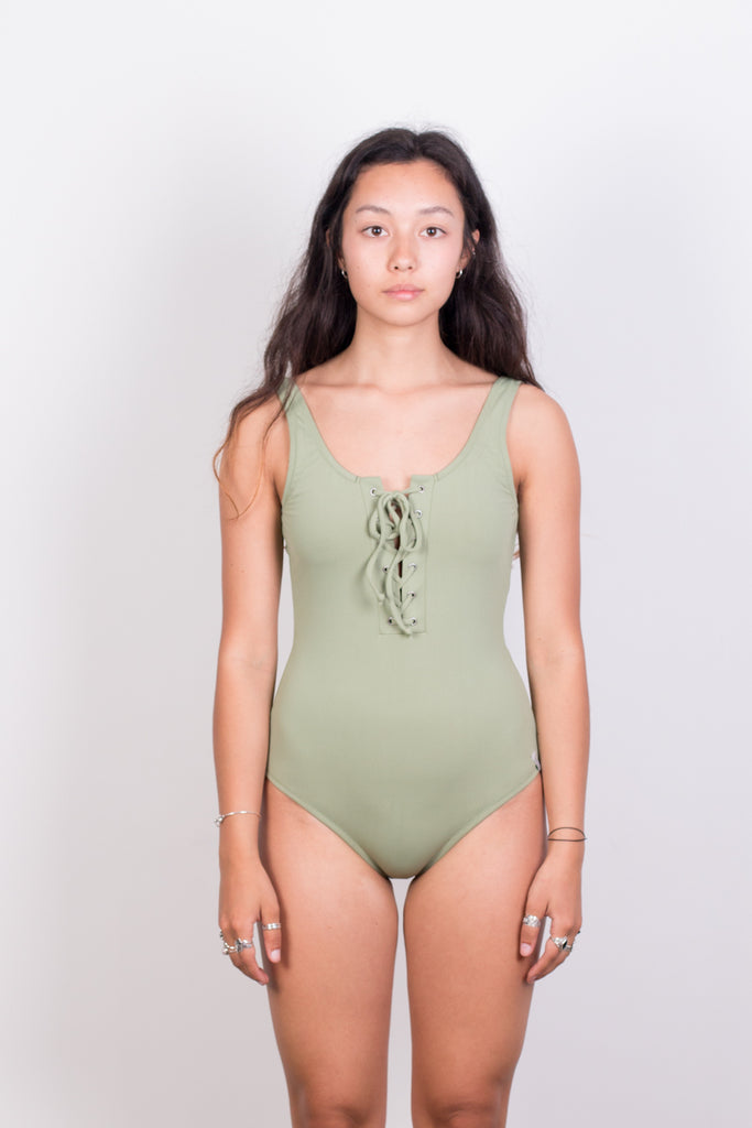 Sunchaser Lace Up One Piece - Palm