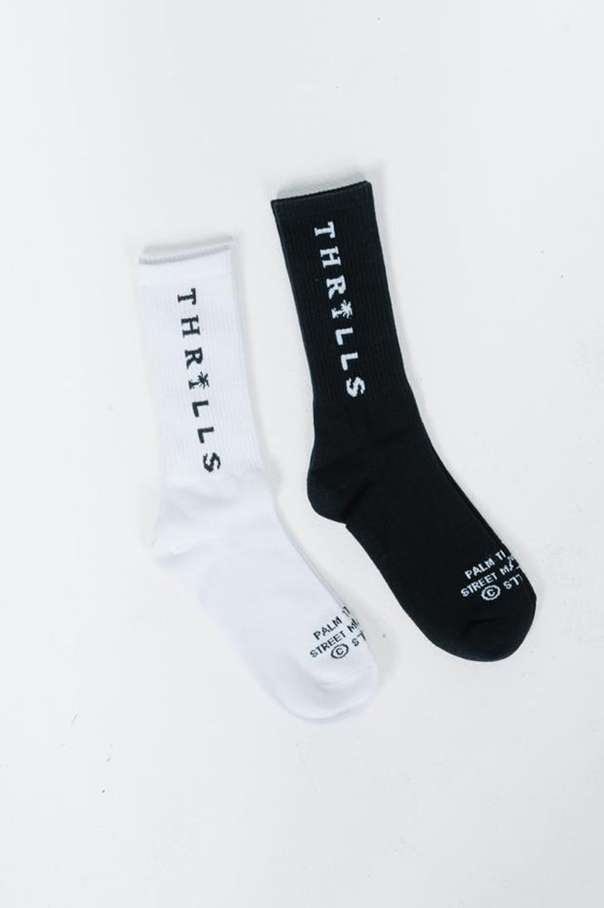 Palmed Thrills Company Sock 2 Pack - Black / White