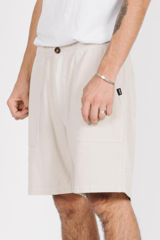 Load image into Gallery viewer, Dril Elastic Waist Short - Tiki White