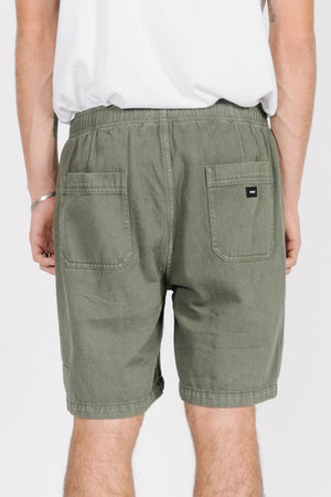 Dril Elastic Waist Short - Army Green