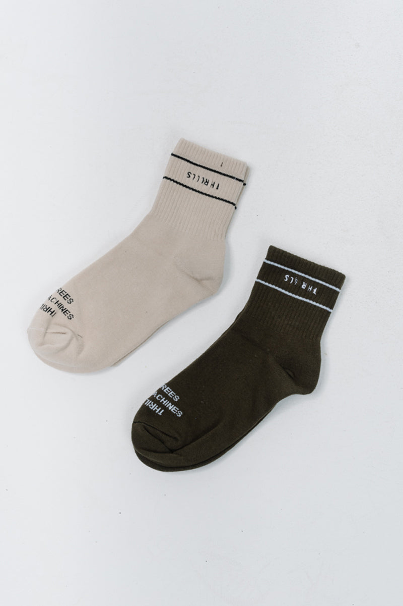 Minimal Thrills Sock 2 Pack - Army Green/Thrift White