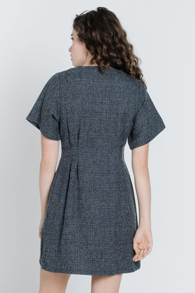Load image into Gallery viewer, Chrissy Plaid Dress - Denim Plaid