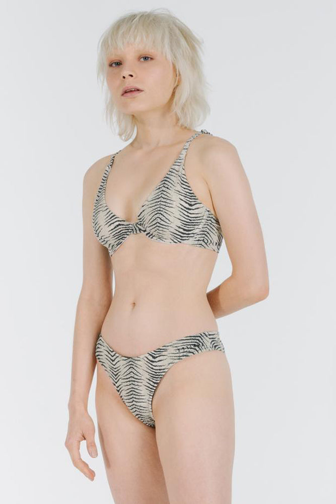 Zebra Lounge Underwire Top - Thrift White