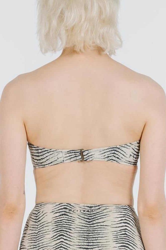 Zebra Lounge Bandeau Top - Thrift White