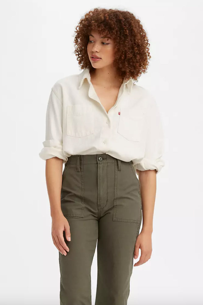 Load image into Gallery viewer, Zoey Pleat Utility Shirt - Ecru