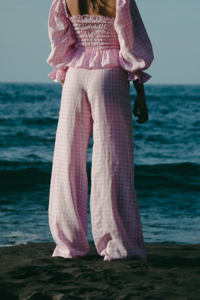 Charlie Pant - Gingham - Pale Pink