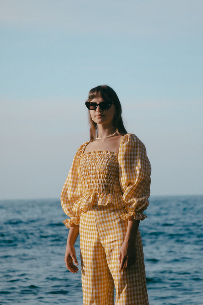 Gracie Top - Gingham - Sunshine Yellow