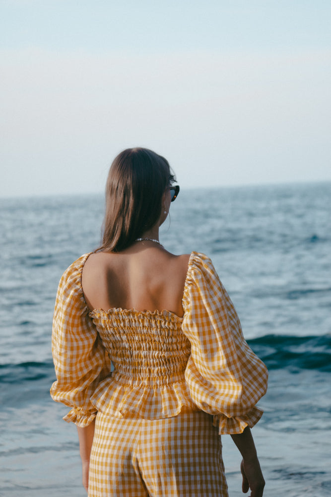 Load image into Gallery viewer, Gracie Top - Gingham - Sunshine Yellow