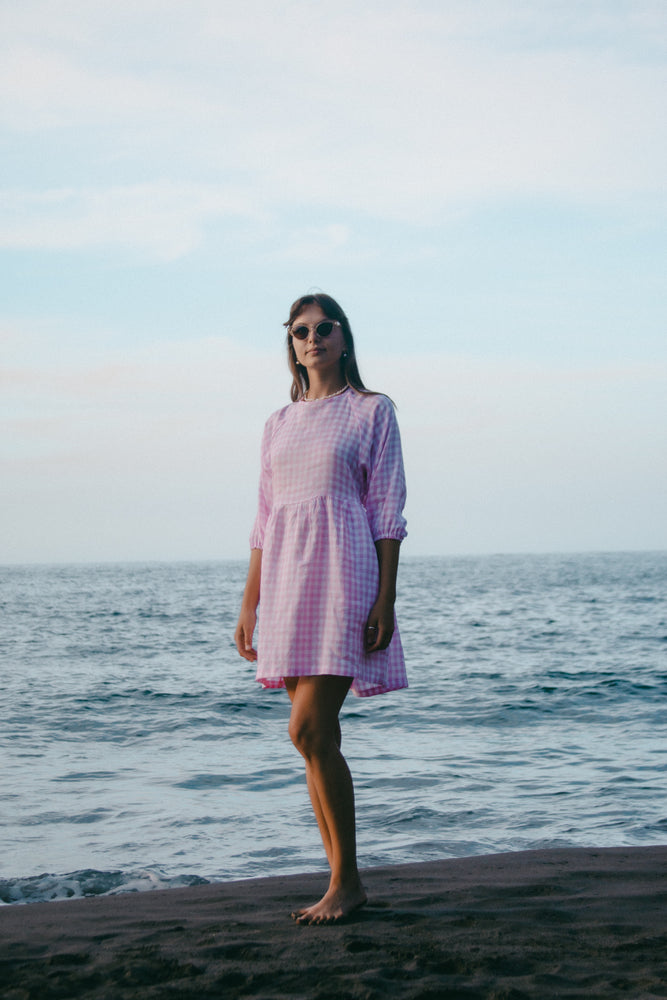 Frankie Dress - Gingham - Pale Pink